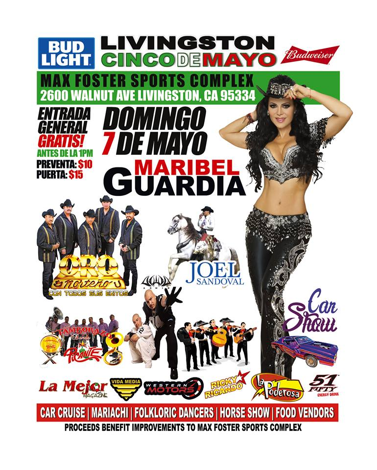 No se pierdan la celebracion del 5 de Mayo con Maribel Guardia el Domingo 7 de Mayo en Livingston, CA.