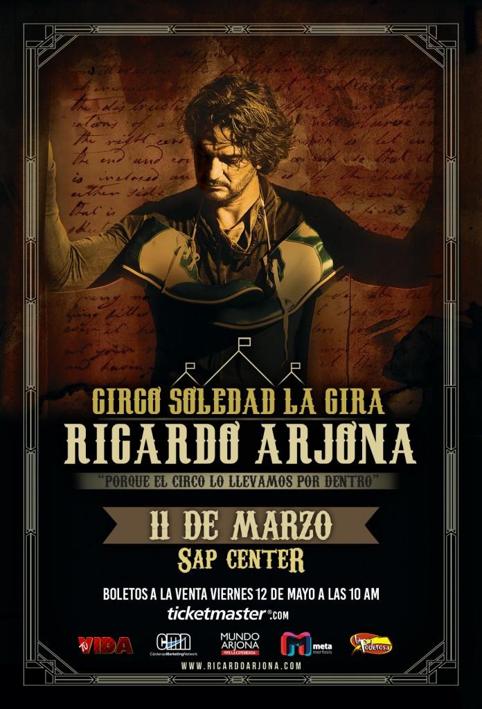 No se pierdan la preventa de boletos para este super concierto de Ricardo Arjona el Jueves 11 de Mayo por Ticketmaster.com usando la clave CIRCO. Tendran la oportunidad de conseguir los mejores asientos para disfrutar de su musica.
