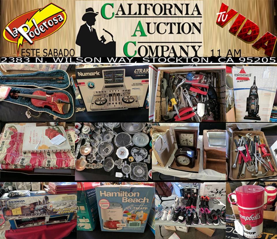 Estos son solo algunos de los articulos que tendran en subasta este Sabado 27 de Mayo a las 11 de la mañana en la siguiente subasta de California Auction Companay, habra muchisimo mas, en el 2383 al Norte de la Wilson Way en Stockton, CA. No se la pierdan!