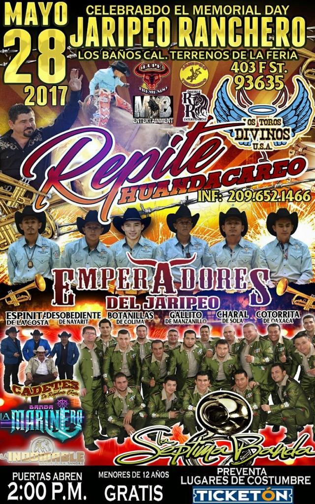 No se piderdan de un gran Jaripeo, celebrando el Memorial Day. Este gran Jaripeo se llevara acabo el 28 de Mayo con LA SEPTIMA BANDA , LOS CADETES DE LINARES , EN EL RUEDO LOS TOROS DIVINOS DE MERO HUANDACAREO MICHOACAN... Puertas abren 2:00 pm  @ LOS TERRENOS DE LA FERIA DE LOS BANOS Evento para todas las edades , MENORES DE 10 ANOS GRATIS Vip disponibles: Sercania al escenario  Para compra y más información de boletos llama al 1-800-668-8080